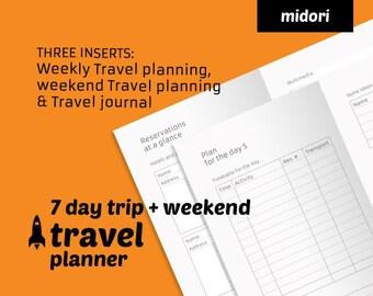 week weekend travel planner travel journal printable midori tn insert travelers notebook refill ready to print travel planner