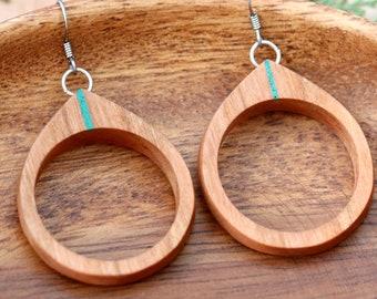 Nature Jewelry Wood Earrings, Wooden Hoop Earrings, Teardrop Earrings, Dangle Earrings, Wooden Jewelry