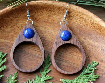 Woodland Nature Earrings, Nature Jewelry, Wooden Earrings, Crystal Earrings, Woodland Earrings
