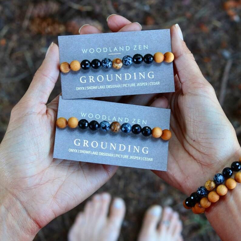 Woodland Nature Bracelet Gemstone Grounding Bracelet image 0