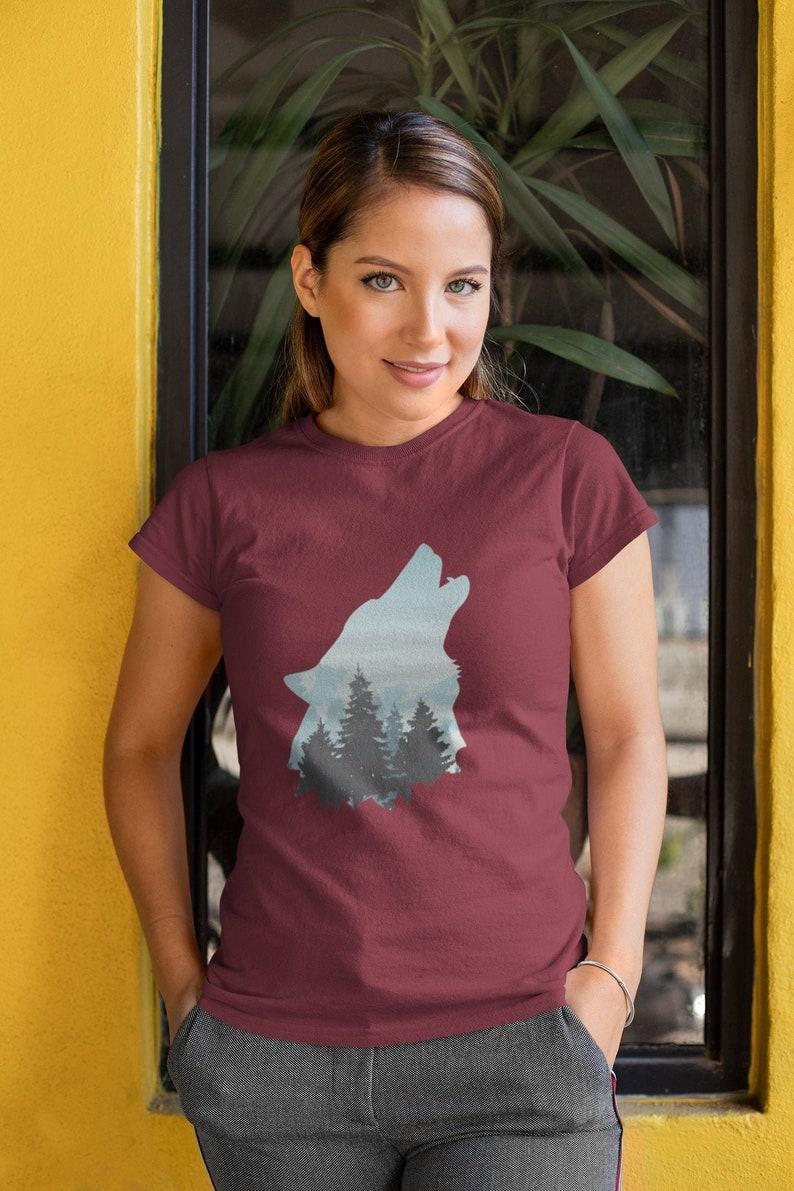 Howling Wolf T Shirt Spirit Animal Wolf Shirt Cute Spiritual image 0