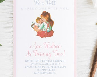 Baby Doll Birthday Invitation Invite Classic Party Vintage