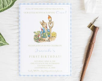 Peter Rabbit Birthday Invitation, peter Rabbit Party, Children's Birthday Invitation, Digital Invitation, Peter Rabbit Birthday Invite