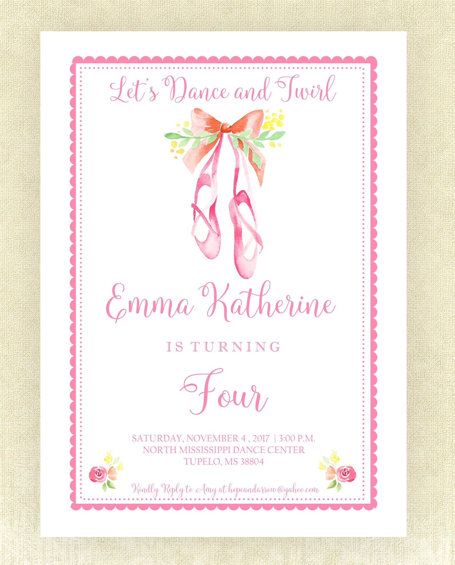 ballet invitation, watercolor ballet invitation, birthday, birthday invitation, ballet party, ballet invite, digital invite, bal