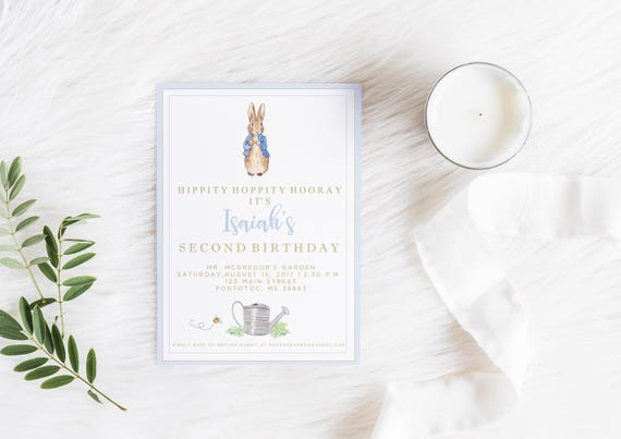 Peter Rabbit Birthday Invitation Peter Rabbit Invitation Etsy