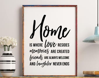Home Is Where Love Resides, Memories Friends And Laughter, Family Wall Art, Family  Decor, Family Quote,Apartment Art, Family Christmas Gifts
