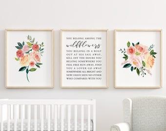 You Belong Among The Wildflowers Printable, Flower Decor, Baby Girl Gift,  Nursery Decor