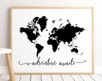Travel quotes etsy adventure awaits printable travel quote kids room art nursery quotes children decor home decor custom color traveler gift gumiabroncs Images