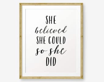 She Believed She Could So She Did Print Etsy
