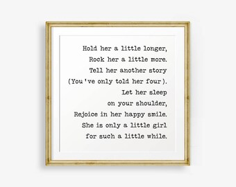 hold her a little longer baby girl nursery printable nursery decor baby shower gift retro nursery shower gift girl girl poem