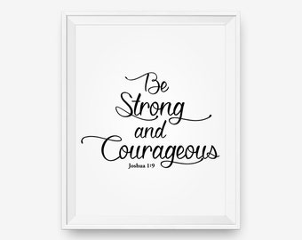 Sale Bible Verse Wall Art Be Strong And Courageous Joshua 1 Etsy