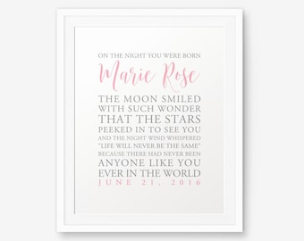 On The Night You Were Born Printable Newborn Baby Gift Baby Etsy