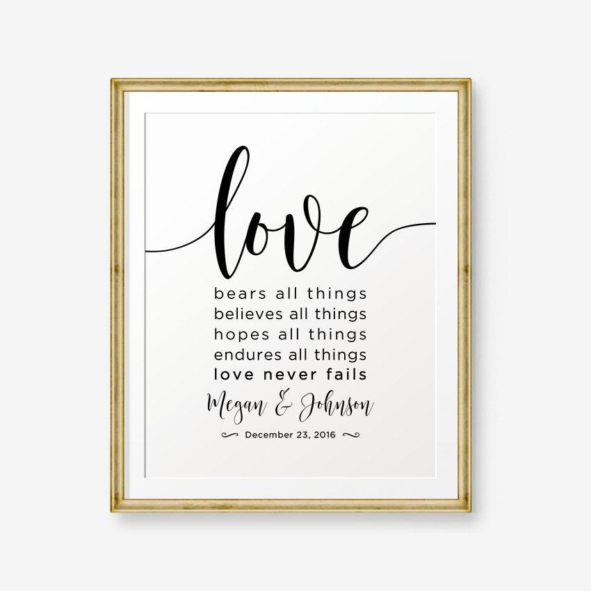 Sale Personalized Wedding Gift Love Never Fails 1 Corinthians 137