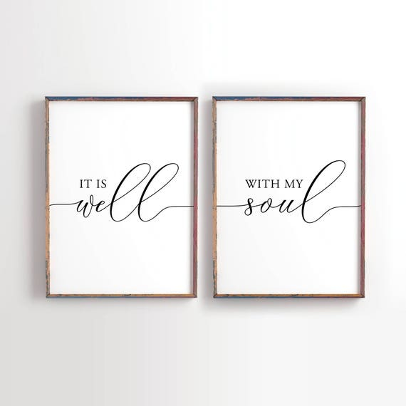photograph regarding It is Well With My Soul Printable identify It is perfectly with my soul Printable, Wedding ceremony decor, Wedding day present, Bible Verse, Christian wall artwork, Bed room Decor, fastened of 2 printable