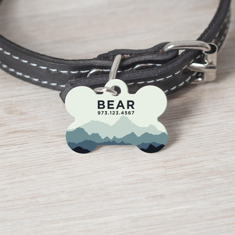 personalized mountain pet tag pet id tag bone shape tag custom