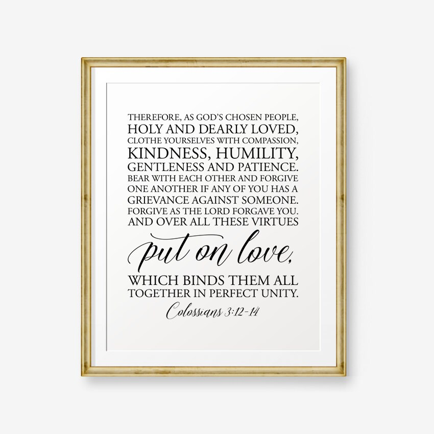 Sale Wedding Gift Printable Bible Verse Colossians 312 14