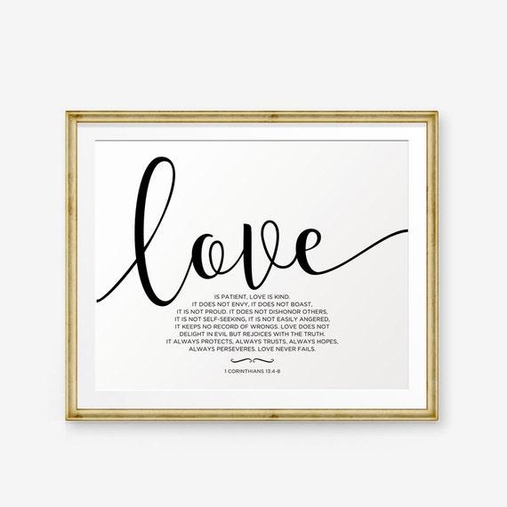 Love Is Patient Love Is Kind 1 Corinthians 13 4 8 Bible Etsy