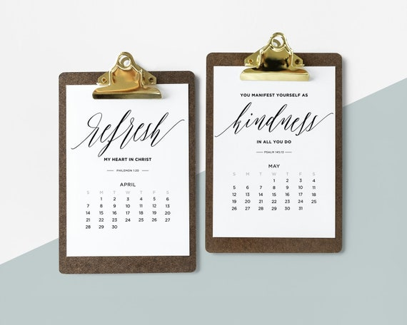 2019 Calendar With Bible Verses Printable Christmas Gift New Etsy