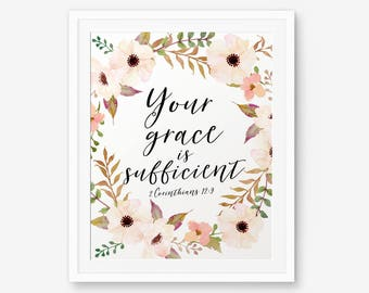 Bible Verse printable, Your grace is sufficient, 2 Corinthians 12:9, Christian wall art, Scripture Printable, Floral Wreath art