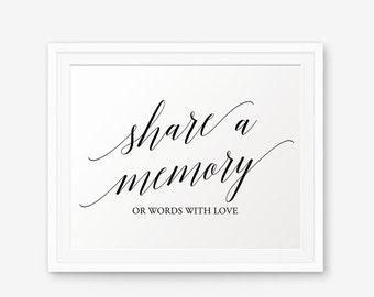 Share a memory Wedding Sign Printable, Wedding signage, Wedding Decor, Wedding signs Printable, Style 1