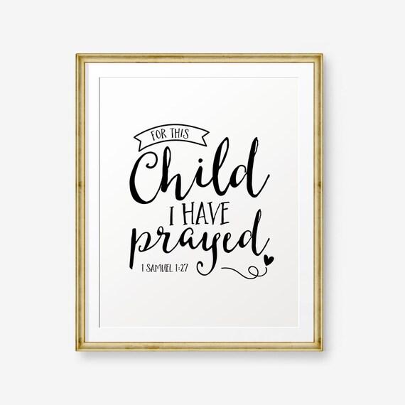Imprimibles para este niño he orado del verso de la Biblia 1 | Etsy