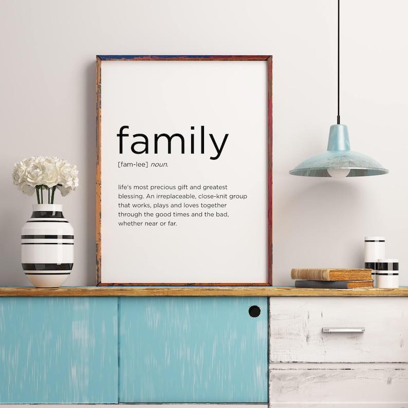 Family Definition Printable Home Decor Wedding Gift Living