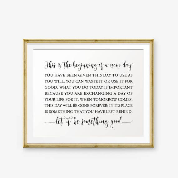 This Is The Beginning Of A New Day Printable Inspirational Etsy