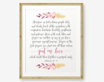 Bible verse Printable, Colossians 3:12-14, Wedding quote, Bible Verse art print, Christian wall art, Scripture Printable