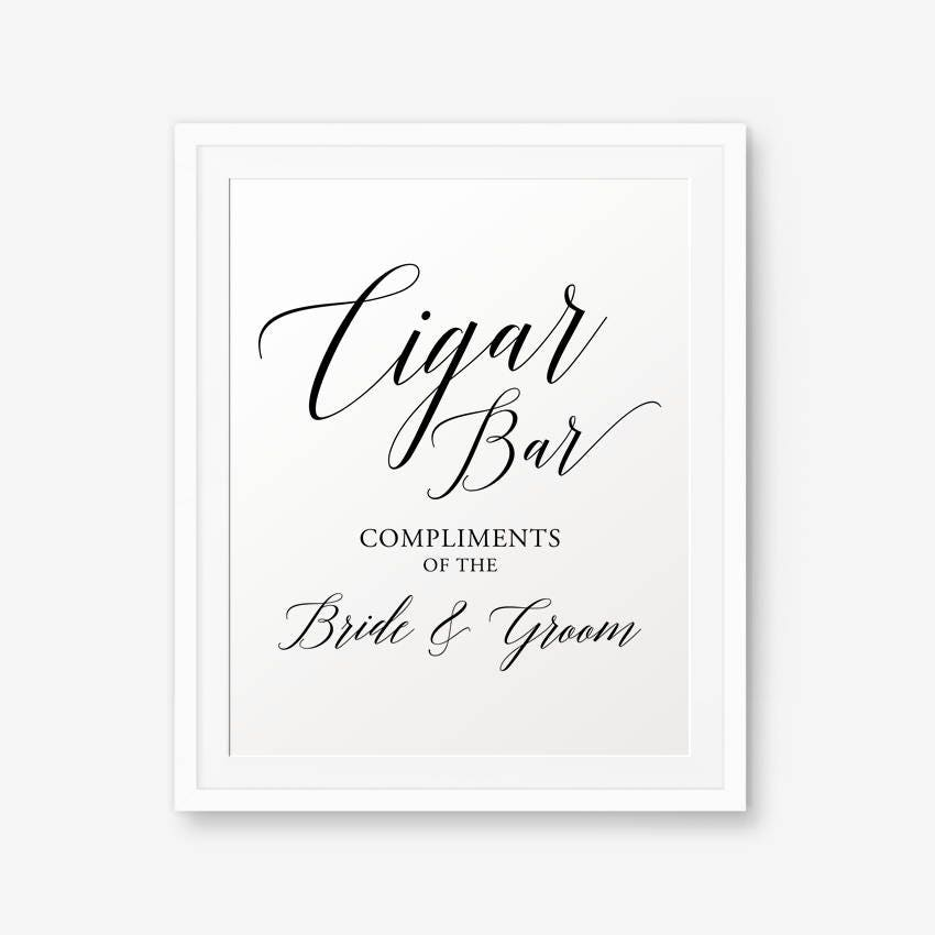 Cigar Bar Sign Printable Wedding Sign Wedding Welcome Sign