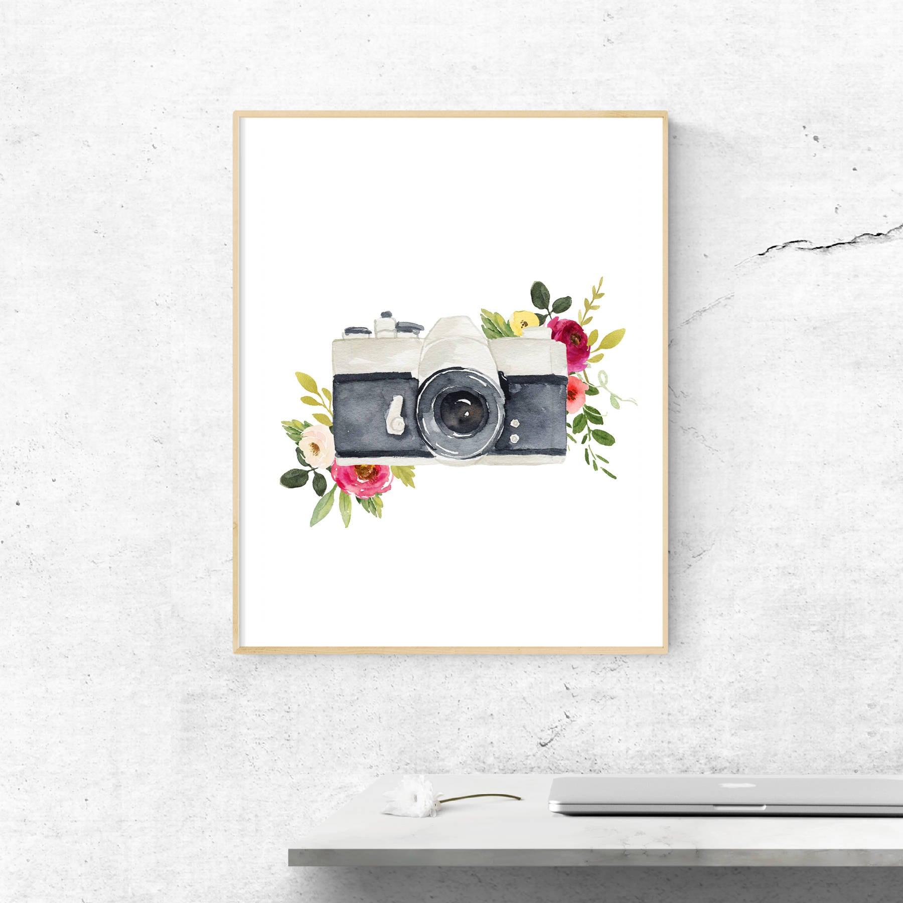 image relating to Printable Camera titled Watercolor digicam flower printable, floral printable, digital camera printable, floral decor, Residence Decor, Wall Decor, purple decor, nursery decor