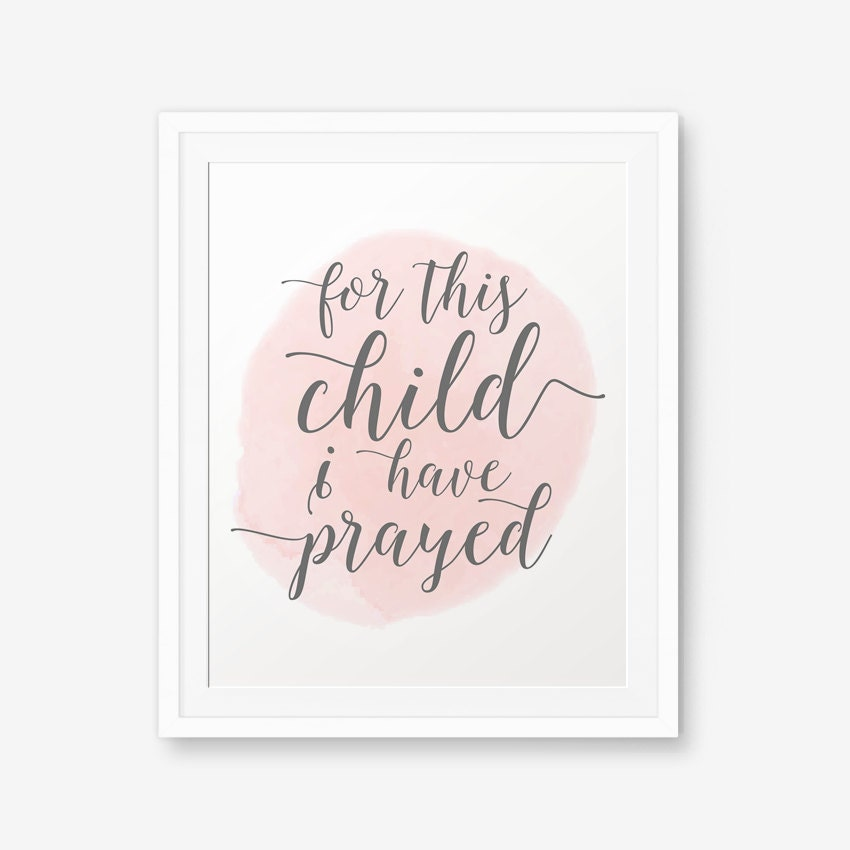 For This Child I Have Prayed, Bible Verse art print, Nursery wall ...