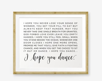 I Hope You Dance Lyrics Printable, I Hope You Dance Lyrics, Song Lyrics art, Dancing theme, Home Decor, nursery Decor, Retro Printable Art