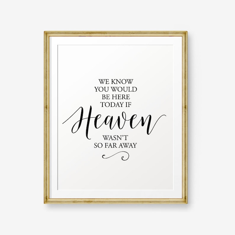 picture about We Know You Would Be Here Today Free Printable named SALE Wedding day printable, We Notice Your self Would Be Below Currently If Heaven Wasnt Consequently Significantly Absent, Wedding ceremony Decor, Marriage ceremony Indicator,