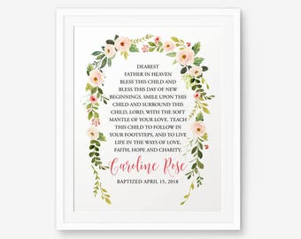 Baptism Printable, Girl Baptism Gift, Baby Shower Gift, Girl Christening Gift, Baby Dedication Gift, Personalized Baptism Sign