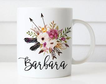 Personalized custom name mug, initial mug, Bridesmaid Gift, Floral Mug, Custom name Mug, Wedding Gift, Anniversary Gift, Bride gift