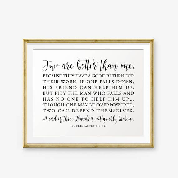 picture relating to Will Return Sign Printable named Marriage Bible Verse Printable, 2 are greater than just one, Ecclesiastes 4:9-12, Wedding ceremony Signal, Marriage Decor, Christian Wedding ceremony Signs or symptoms