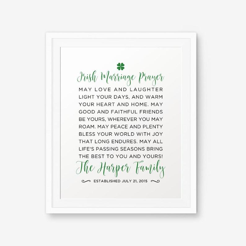 Irish Wedding Blessing Gifts: Personalized Irish Marriage Blessing Printable Irish