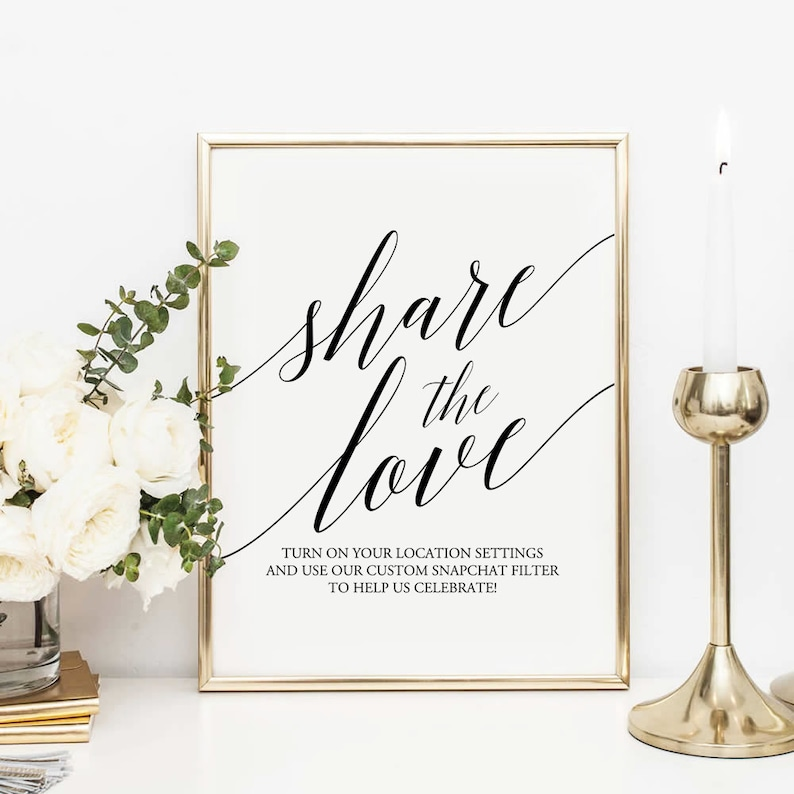 picture relating to Printable Snapchat Filters known as Wedding ceremony Snapchat signal Printable, Proportion the enjoy Indicator, Marriage Printable, Snapchat Filter Marriage ceremony Indication, Marriage ceremony Decor, gold signal, black signal