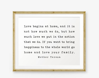 Family quote etsy love begins at home mother teresa quote home decor wedding gift living junglespirit Choice Image
