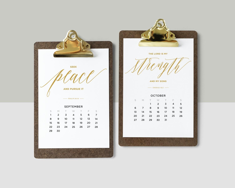 2019 Calendar gold with Bible Verses Printable