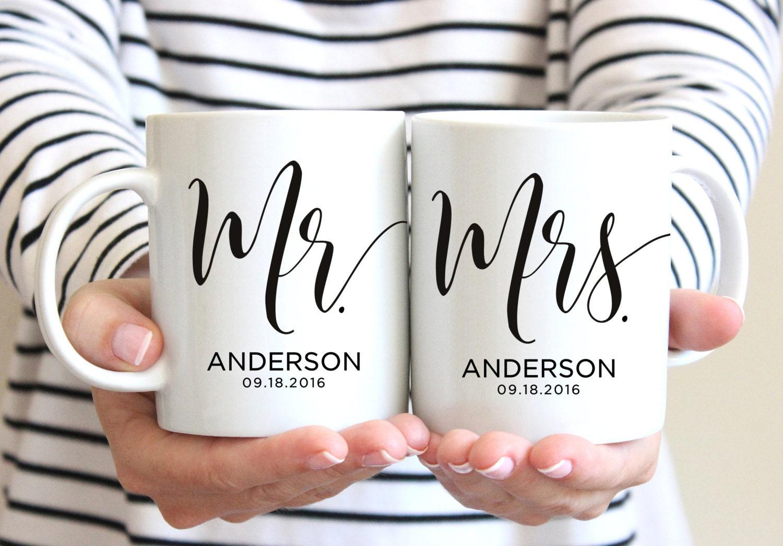Mr Mrs Mugs Custom Wedding Gift Personalized Wedding Mugs