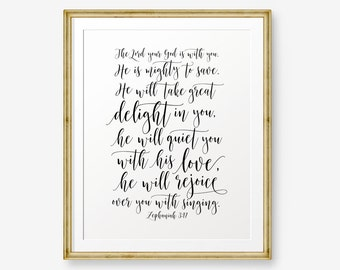 SALE Bible verse printable, The Lord your God, Zephaniah 3:17, Christian Nursery Wall Art, Christian Gift, Nursery Art, kids wall art