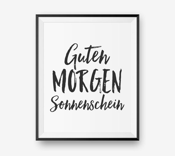 Guten Morgen Sonnenschein German Good Morning Sunshine Typography Printable Bedroom Decor Baby Nursery Decor Digital Download