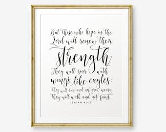 SALE Isaiah 40:31, Bible verse printable, Christian Nursery Wall Art, Christian Gift, Inspirational quote, Scripture Print