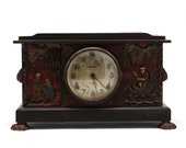 HOLIDAY SALE 100 OFF 1929 Chinese Chinoiserie Hand Carved Wood Ingraham 8-Day Mantel Clock With Carved Wooden Claw Feet And Handles
