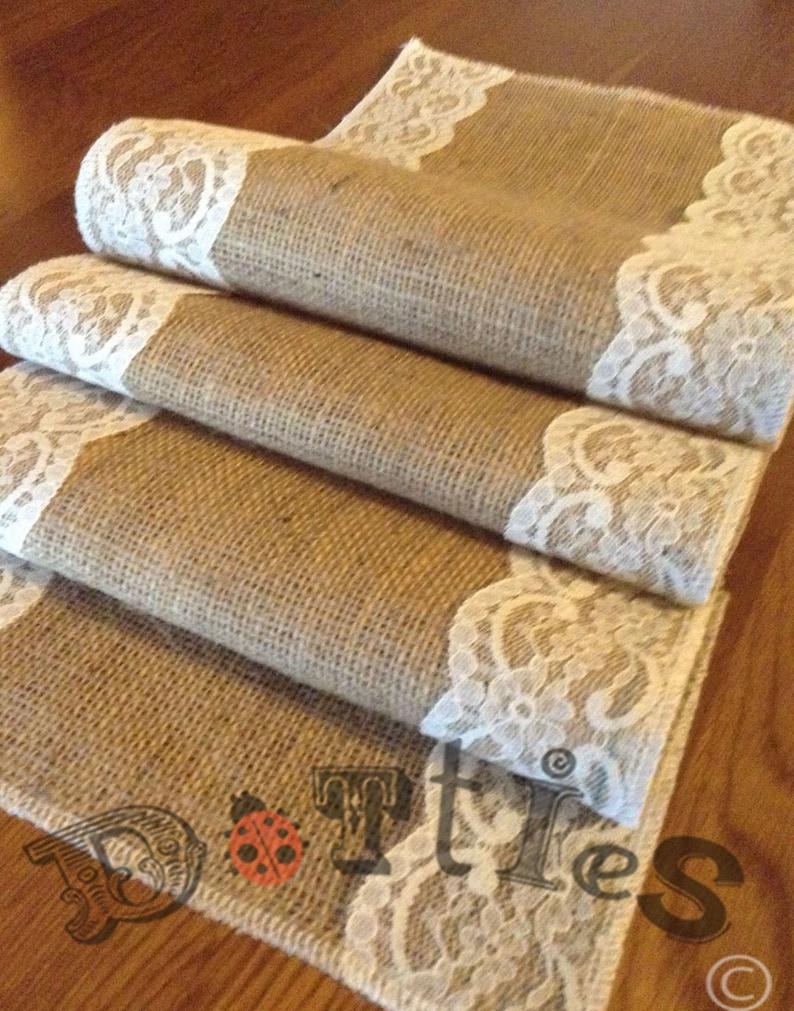 18ft Handmade Overlocked Lovely Hessian And Lace Table Runner