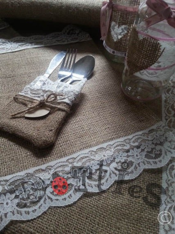 7ft Handmade Hessian and Lace Table Runners