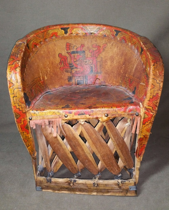 image 0 - Antique Mexican Equipale Child's Chair Hand Painted AZTEC Etsy