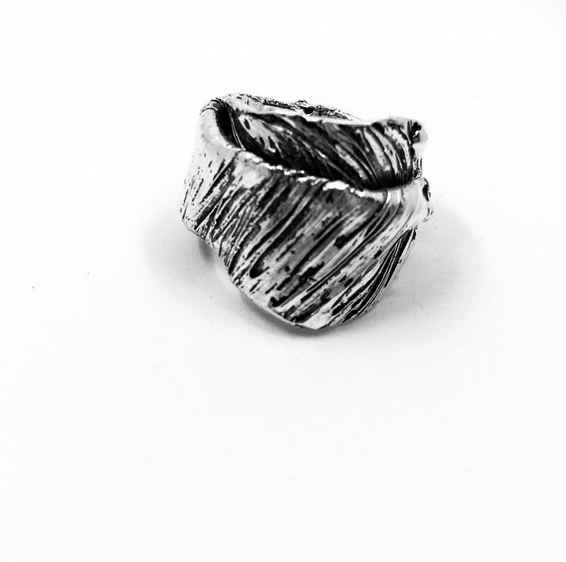 Women/'s Ring  Silver Band Man 925 Texture White Spruce