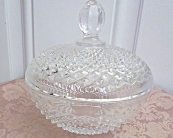 Small Glass Covered Candy Dish, Vintage 90's, 2 Pc.
